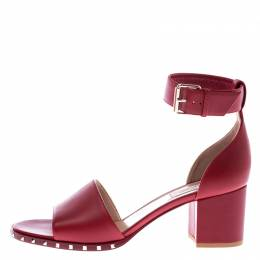 Valentino Red Leather Rockstud Ankle Cuff Sandals Size 39.5 245671