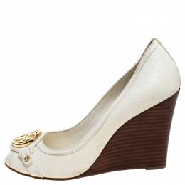 Tory Burch White Leather Logo Wedges Peep Toe Pumps Size 38