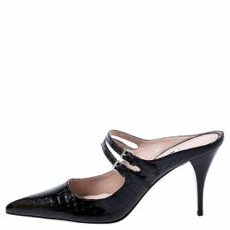 Miu Miu Black Patent Leather Double Strap Pointed Toe Slide Mules Size 38 245127