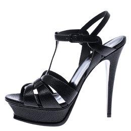 Saint Laurent Black Grained Leather Tribute Platform Ankle Strap Sandals Size 40.5 245421