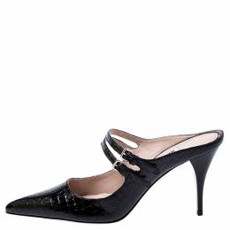 Miu Miu Black Croc Embossed Patent Leather Double Strap Pointed Toe Slide Mules Size 39 245135