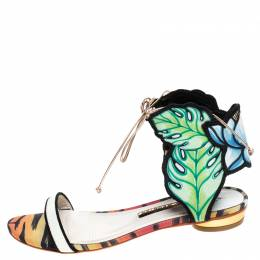 Sophia Webster Multicolor Leather And Fabric Rousseau Jungle Flat Sandals Size 37.5 244550