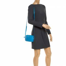 Coach Blue Leather Double Zip Camera Crossbody Bag