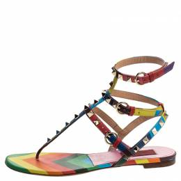 Valentino Multicolor Chevron Print Leather Rockstud Thong Flat Sandals Size 37.5 244546