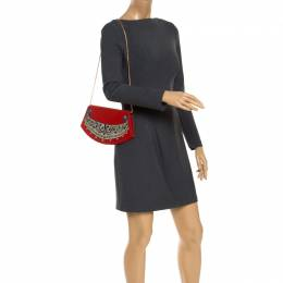 Cartier Red Printed Canvas Chain Clutch