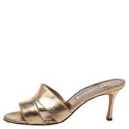 Manolo Blahnik Metallic Gold Leather Lacopo Open Toe Sandals Size 40.5 245150