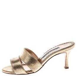 Manolo Blahnik Metallic Gold Leather Lacopo Open Toe Sandals Size 35 245155