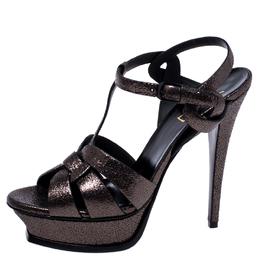Saint Laurent Metallic Grey Foil Leather Tribute Platform Ankle Strap Sandals Size 39 245408