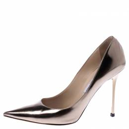 Jimmy Choo Metallic Bronze Leather Abel Pointed Toe Pumps Size 41