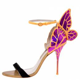 Sophia Webster Black Suede and Fuchsia Leather Chiara Butterfly Open Toe Sandals Size 41.5
