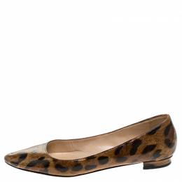 Manolo Blahnik Leopard Patent Leather Titto Ballet Flats Size 35