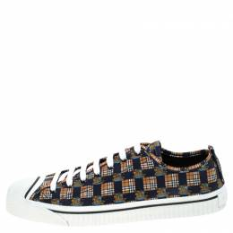 Burberry Blue/Brown Printed Canvas Kingly Low Top Sneakers Size 45 243020