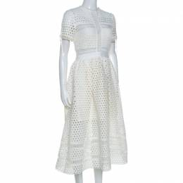 Self-Portrait White Crochet Knit Midi Dress M