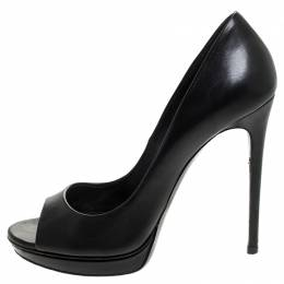 Casadei Black Leather Peep Toe Pumps Size 38.5 245684