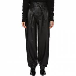 Wandering Black Belted Leather Trousers WGW19392