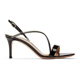 Gianvito Rossi Black Patent Crystal Manhattan Strappy 70 Sandals *G31673.70RIC.VER