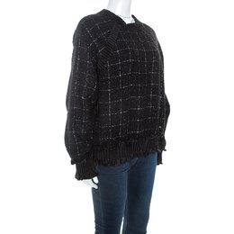 Chanel Black Checked Fantasy Tweed Sweater M 245308