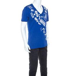 Philipp Plein Printed Blue V Neck Money T-Shirt 245457