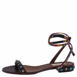 Valentino Multicolor Leather Rockstud Rolling Ankle Wrap Flat Sandals Size 37 242879