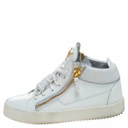 Giuseppe Zanotti Design White Patent Leather London High Top Sneakers Size 39