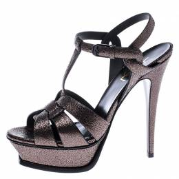 Saint Laurent Metallic Grey Foil Leather Tribute Platform Ankle Strap Sandals Size 38 245424