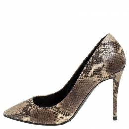 Giuseppe Zanotti Design Brown/Beige Python Embossed Leather Pointed Toe Pumps Size 39 245559