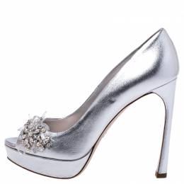 Miu Miu Silver Leather Crystal Embellished Peep Toe Platform Pumps 38.5