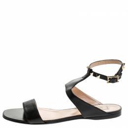 Valentino Black Leather Rockstud Ankle Strap Flat Sandals Size 39.5 243014