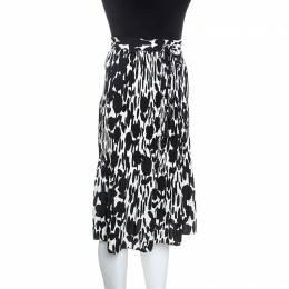 Max Mara Monochrome Printed Wrinkled Midi Skirt M 245764