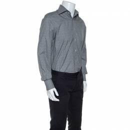 Tom Ford Monochrome Glen Check Cotton Front Button Shirt M 245196