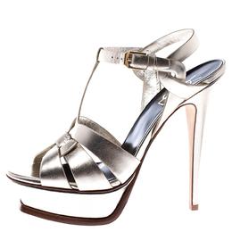 Saint Laurent Metallic Gold Leather Tribute Platform Sandals Size 38 245756
