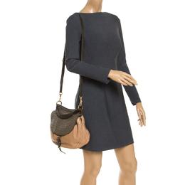 Miu Miu Beige/Green Ostrich and Leather Top Handle Bag 239974