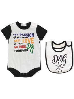 Dolce & Gabbana Kids комплект нагрудника и боди с принтом L1JG13G7TWA