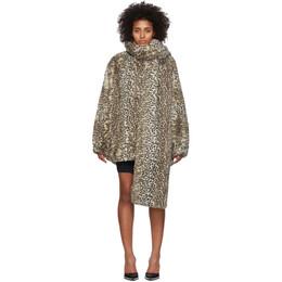 T By Alexander Wang Beige Oversized Cheetah Coat 4WC1202007