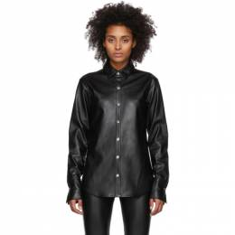 T By Alexander Wang Black Faux-Leather Snap Shirt 4WC1201008