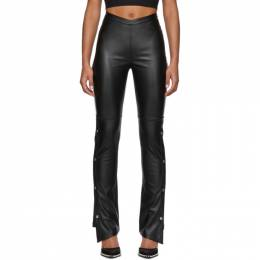 T By Alexander Wang Black Faux-Leather Side Snap Trousers 4WC1204005