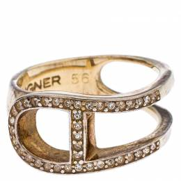 Aigner Gold Tone Crystal Embellished Ring Size 56 246124