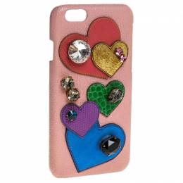 Dolce&Gabbana Multicolor Leather Heart Crystal Embellished iPhone 6S Case 246581