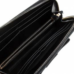 Prada Black Saffiano Lux Leather Bow Zip Around Wallet 246586