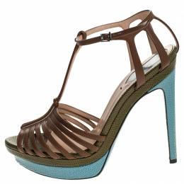 Fendi Brown Leather T Strap Platform Sandals Size 38 246542