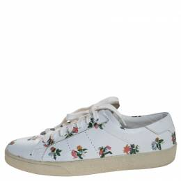 Saint Laurent White Floral Printed Leather Low Top Sneakers Size 38.5 246538