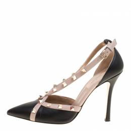 Valentino Black Leather Rockstud Crisscross D'orsday Pumps Size 38