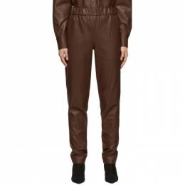 Tibi Brown Faux-Leather Pull-On Trousers R119FL3025
