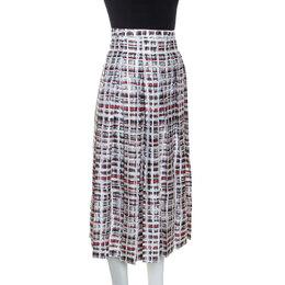Burberry Red & White Printed Silk Farnborough Pleated Skirt L 245226