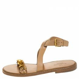 Valentino Beige Leather Floral Embellished Testa Di Moro Ankle Strap Flat Sandals Size 39 245472