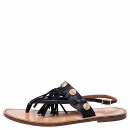 Valentino Black Leather Fringed Coin Detail Thong Flat Sandals Size 39 246970