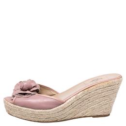 Valentino Beige Leather Flower Applique Wedge Platform Sandals Size 41 246978