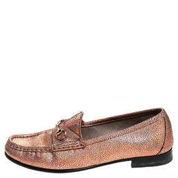 Gucci Metallic Bronze Textured Leather Horsebit Slip On Loafers Size 36.5