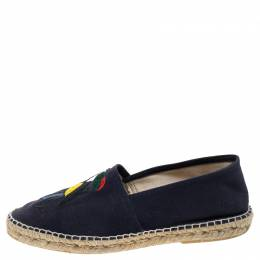 Carolina Herrera Blue Canvas Espadrilles Size 41