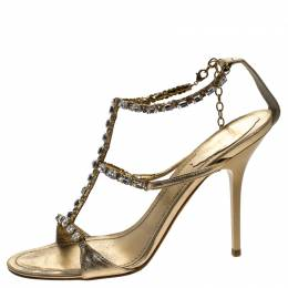 Rene Caovilla Metallic Gold Crystal Embellished Strappy Sandals Size 38